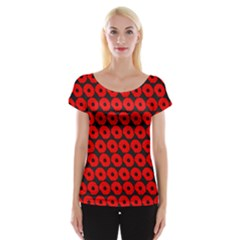 Charcoal And Red Peony Flower Pattern Women s Cap Sleeve Top