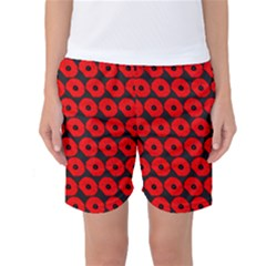 Charcoal And Red Peony Flower Pattern Women s Basketball Shorts