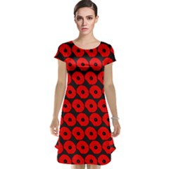 Charcoal And Red Peony Flower Pattern Cap Sleeve Nightdresses