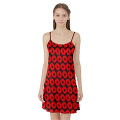 Charcoal And Red Peony Flower Pattern Satin Night Slip