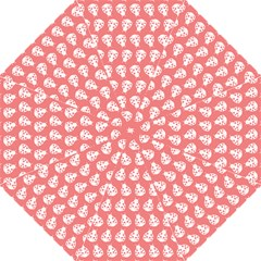 Coral And White Lady Bug Pattern Folding Umbrellas