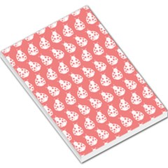 Coral And White Lady Bug Pattern Large Memo Pads