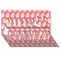 Coral And White Lady Bug Pattern Happy Birthday 3D Greeting Card (8x4)