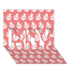 Coral And White Lady Bug Pattern BOY 3D Greeting Card (7x5)