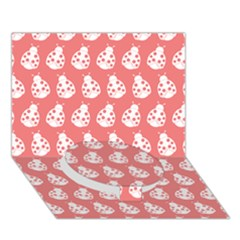 Coral And White Lady Bug Pattern Circle Bottom 3D Greeting Card (7x5)