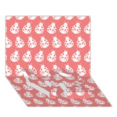 Coral And White Lady Bug Pattern LOVE Bottom 3D Greeting Card (7x5)