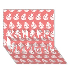 Coral And White Lady Bug Pattern YOU ARE INVITED 3D Greeting Card (7x5)