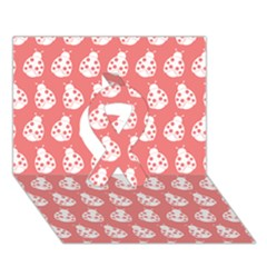 Coral And White Lady Bug Pattern Ribbon 3D Greeting Card (7x5)