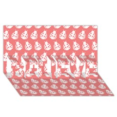 Coral And White Lady Bug Pattern BELIEVE 3D Greeting Card (8x4)