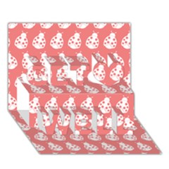 Coral And White Lady Bug Pattern Get Well 3d Greeting Card (7x5)