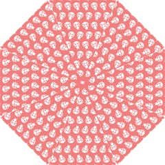 Coral And White Lady Bug Pattern Hook Handle Umbrellas (Small)