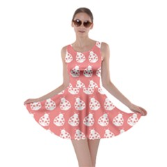 Coral And White Lady Bug Pattern Skater Dresses