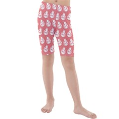 Coral And White Lady Bug Pattern Kid s swimwear