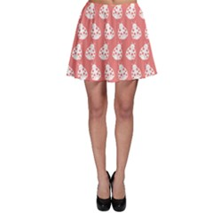 Coral And White Lady Bug Pattern Skater Skirts