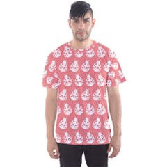 Coral And White Lady Bug Pattern Men s Sport Mesh Tees