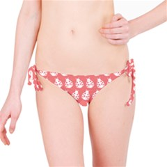 Coral And White Lady Bug Pattern Bikini Bottoms