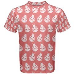 Coral And White Lady Bug Pattern Men s Cotton Tees