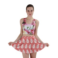Coral And White Lady Bug Pattern Mini Skirts
