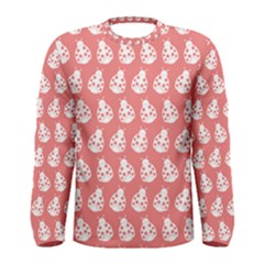 Coral And White Lady Bug Pattern Men s Long Sleeve T-shirts