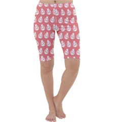 Coral And White Lady Bug Pattern Cropped Leggings