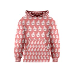 Coral And White Lady Bug Pattern Kid s Pullover Hoodies