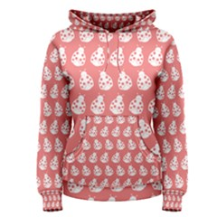 Coral And White Lady Bug Pattern Women s Pullover Hoodies