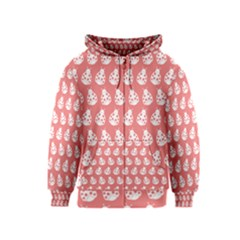 Coral And White Lady Bug Pattern Kids Zipper Hoodies