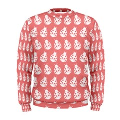 Coral And White Lady Bug Pattern Men s Sweatshirts