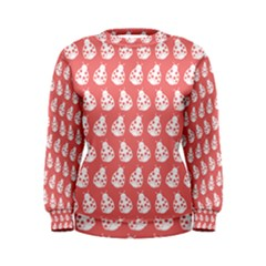 Coral And White Lady Bug Pattern Women s Sweatshirts