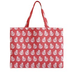 Coral And White Lady Bug Pattern Zipper Tiny Tote Bags