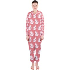 Coral And White Lady Bug Pattern Hooded Jumpsuit (Ladies)