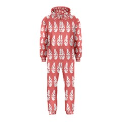 Coral And White Lady Bug Pattern Hooded Jumpsuit (kids)
