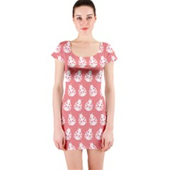 Coral And White Lady Bug Pattern Short Sleeve Bodycon Dresses