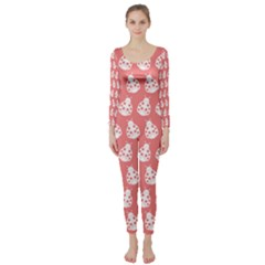Coral And White Lady Bug Pattern Long Sleeve Catsuit