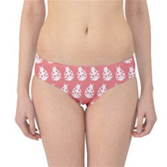Coral And White Lady Bug Pattern Hipster Bikini Bottoms