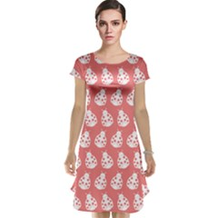 Coral And White Lady Bug Pattern Cap Sleeve Nightdresses
