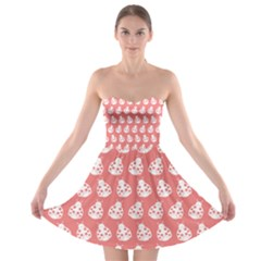 Coral And White Lady Bug Pattern Strapless Bra Top Dress