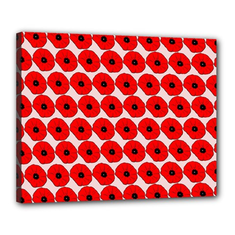 Red Peony Flower Pattern Canvas 20  X 16