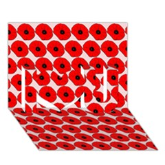 Red Peony Flower Pattern I Love You 3D Greeting Card (7x5)