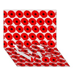 Red Peony Flower Pattern LOVE Bottom 3D Greeting Card (7x5)