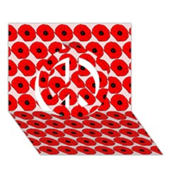 Red Peony Flower Pattern Peace Sign 3D Greeting Card (7x5)