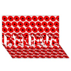 Red Peony Flower Pattern BELIEVE 3D Greeting Card (8x4)