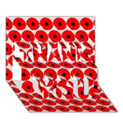 Red Peony Flower Pattern Thank You 3d Greeting Card (7x5)