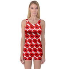 Red Peony Flower Pattern Women s Boyleg One Piece Swimsuits