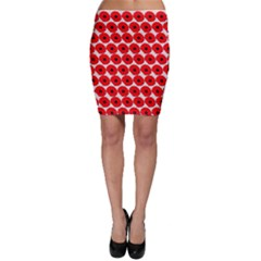 Red Peony Flower Pattern Bodycon Skirts