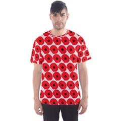 Red Peony Flower Pattern Men s Sport Mesh Tees