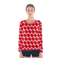Red Peony Flower Pattern Women s Long Sleeve T-shirts