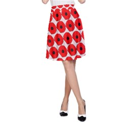 Red Peony Flower Pattern A-Line Skirts
