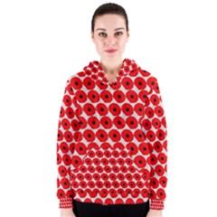 Red Peony Flower Pattern Women s Zipper Hoodies
