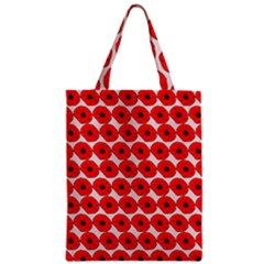 Red Peony Flower Pattern Zipper Classic Tote Bags